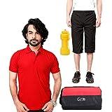 Elligator Stylish Capri, T-Shirt, Gym Bag And Sipper Combo - B00W7FF4UM