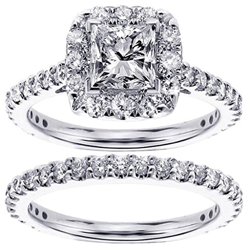 Price Comparisons 2.22 CT TW Halo Princess Cut Diamond Engagement Bridal Set in 14k White Gold - Size 11.5