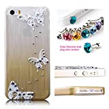Cocoz® Iphone 5s Case Rhinestone Diamond Graphic Design Thin Shell,for Iphone 5s Retail Packaging (Champagne Gold with Butterfly)
