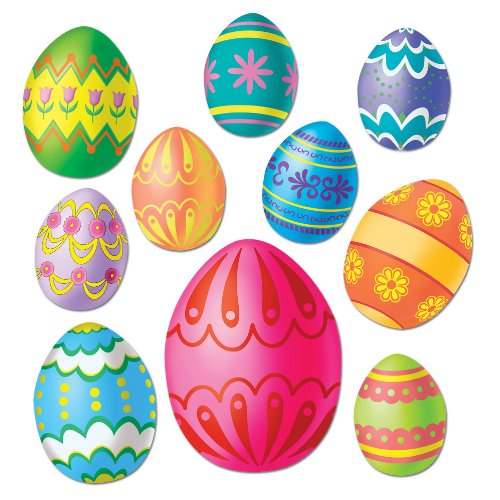Beistle Party Decoration Easter Egg Cutouts Assorted (10 Count)