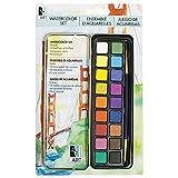 Art Alternatives Pocket Watercolor Set of 18 Half Pans of Brilliant Transparent Paint and 1 Round Brush