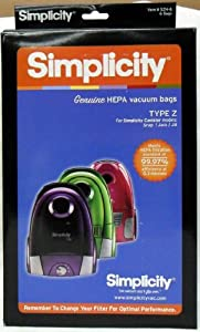 Amazon Com Simplicity Type Z Hepa Vacuum Cleaner Bags 6