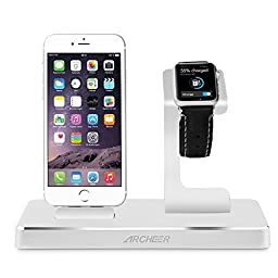Archeer Apple Watch Stand and iPhone Charging Station with 8 Pin Lightning Adapter 3 IN 1 Charging Dock with 2 x 2.4A USB Output to Charge iPhone 6s iPad other Tablets Cellphones (Silver)