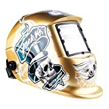 IHP Pro Solar Auto Darkening Welding Helmet Tig Mig Arc Mask Grinding Welder Mask - Champagne Skull by Inter House Product