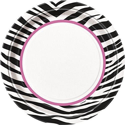 23cm Zebra Print Party Plates, Pack of 8