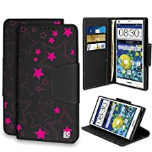 buy Spots8® For Zte Grand X Max & Grand X Max+ Flip Cellphone Case Wallet With Kickstand[Pink Stars]