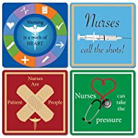 Nurse Gift - Set of 4 Ceramic Coasters - Colorful Nurse Designs and Sayings - Nurse Gift - Nurse Appreciation - National Nurses Week - Gifts for Nurses - Nurses Gifts