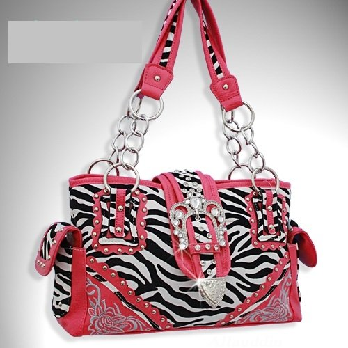 Western Buckle Zebra Print Studs Handbag Purse - Pink