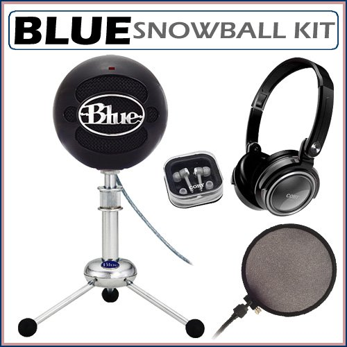 Blue Microphones Snowball Plug-and-Play USB Microphone in Black with Studio Headphones and Microphone Pop Filter