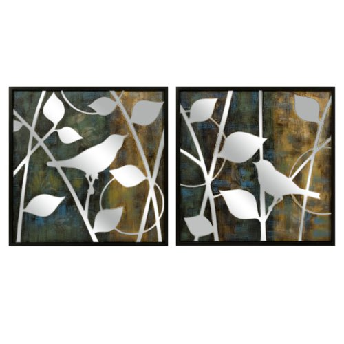 Set Of 2 Mirrored Reflective Bird Silhouette Wall Oil Paintings front-374161