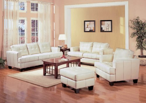 4 PCs Cream Classic Leather Sofa, Loveseat, Chair, and Ottoman Set