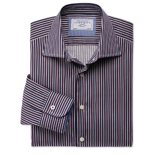 Charles Tyrwhitt Navy and red stripe business casual slim fit shirt (16 - 34)