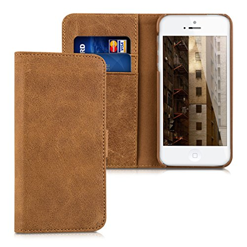 kalibri-Leder-Hlle-James-fr-Apple-iPhone-SE-5-5S-Echtleder-Schutzhlle-Wallet-Case-Style-mit-Karten-Fchern-in-Cognac