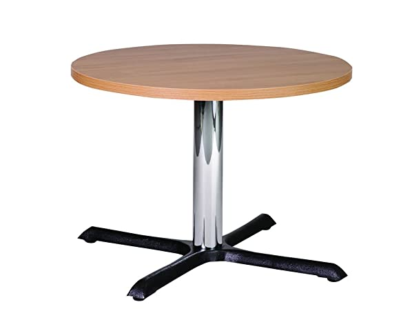 Roza 70cm rotondo in quercia ghisa tavolino con colonna cromata
