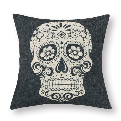 "Euphoria® Home Decorative Cushion Covers Pillows Shell Cotton Linen Blend Vintage Fancy Black Skull 18"" X 18"" front-1032663"