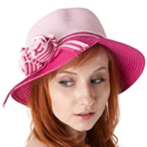 EH4241LC - Womens 100% Paper Straw Flower Accent Cloche Bucket Bell Summer Hat - Pink/One Size
