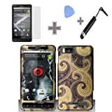 (4 Items Combo : Case - Screen Protector Film - Case Opener - Stylus Pen) Rubberized Gold Brown Enticing Snap on Design Case Hard Case Skin Cover Faceplate for Motorola DROID X MB810 & Droid X2 MB870 Verizon
