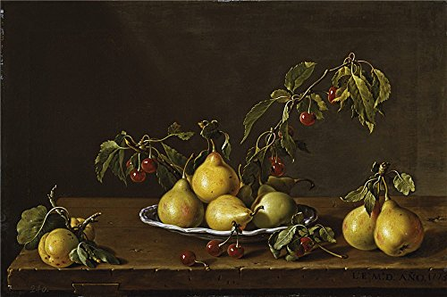 The High Quality Polyster Canvas Of Oil Painting 'Melendez Luis Egidio Frutero Con Peras Y Guindas 1773 ' ,size: 8 X 12 Inch / 20 X 31 Cm ,this Vivid Art Decorative Prints On Canvas Is Fit For Bathroom Decoration And Home Artwork And Gifts (Electric Shirt Light Module compare prices)