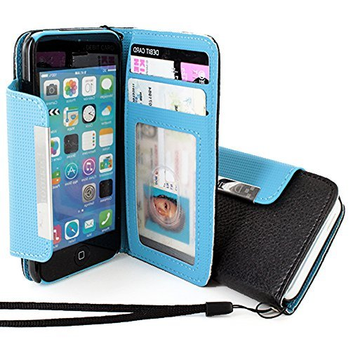 Mylife Sky Blue + Ink Black {Modern Design} Faux Leather (Card, Cash And Id Holder + Magnetic Closing + Hand Strap) Slim Wallet For The Iphone 5C Smartphone By Apple (External Textured Synthetic Leather With Magnetic Clip + Internal Secure Snap In Hard Ru