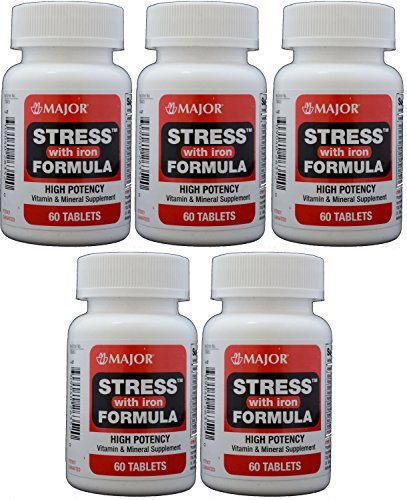 Stress Tab With Iron High Potency Stress Formula With B-Vitamins, C+E, Plus Antioxidants And Iron For Immune Support 60 Tablets Per Bottle Pack Of 5 Total 300 Tablets