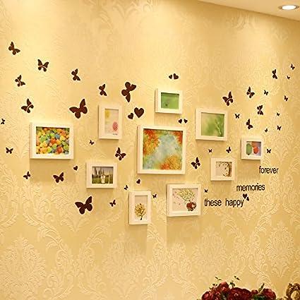 ZZZSYZXL salón comedor de la pared de la foto de madera maciza 10 conjuntos de combinación marco creativo de suspensión de pared , white