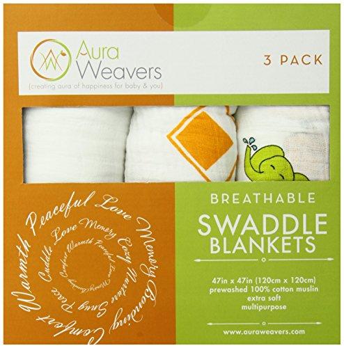 Aura Weavers 3 Count Muslin Swaddle Blankets, Fashion Fiesta, Large