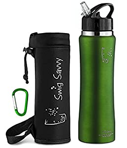 Swig Savvy Stainless Steel Insulated Water Bottle with Straw Cap and Pouch - Green (25 oz)