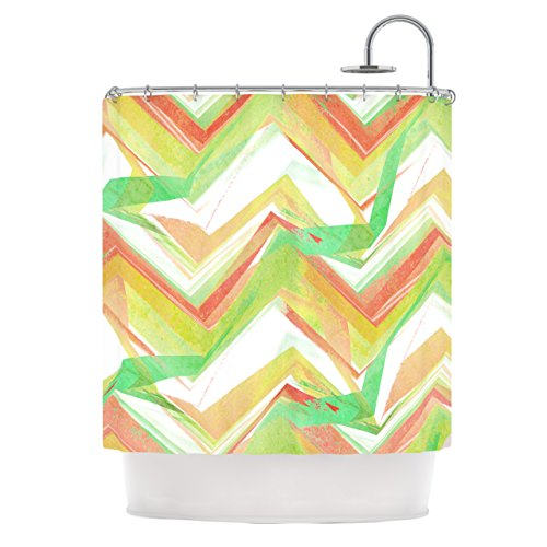 "Kess Inhouse Alison Coxon ""Summer Party Chevron"" Shower Curtain, 69 By 70-Inch front-974245"