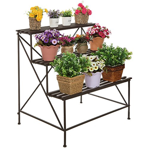 Mygift freestanding decorative rustic style 3 tier brown metal planter stand plant shelf flower - Flower pot stands metal ...