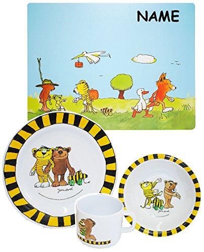 """Set: Kindergeschirr - """" Janosch / Tigerente - Tiger & Bär """"- incl. Name - Melamin Set - Müslischale + Platzdeckchen + Henkelbecher + Teller - Frühstücksset / für Jungen Mädchen - Frosch Tiger / Tiere"""