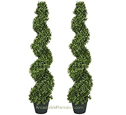 TWO Pre-potted 4\' Spiral Boxwood Artificial Topiary Trees. In Plastic Pot