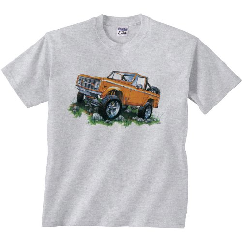 Fair Game Ford T-Shirt Classic Ford Orange Bronco 4-Wheeler Truck Off Road Truck 4 X 4 Tee Shirt-Ash-Adult Large