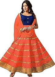 Fashion Galleria Women's Orange Rassal Net Lehenga