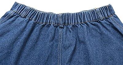 Wantdo Women's High Waist Simply Elastic Long Denim Skirt