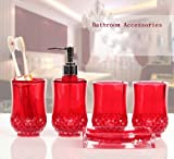5PC Set Acrylic Bathroom Accessories Bathroom Set Glamarous Red
