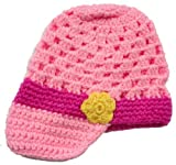 LadyMYP Handmade Knitted cap Baby cap Childrens hat Hats 100 Wool Pink Hat with Yellow Flowers