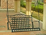 Porch Swing in Black-Finished Wrought Iron