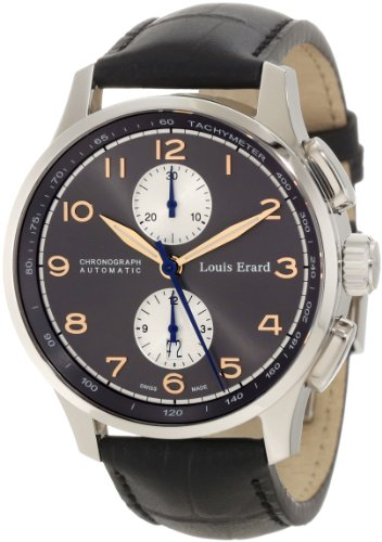 Louis Erard Men's 73228AA03.BDC51 1931 Automatic Charcoal Dial Leather Chronograph Watch