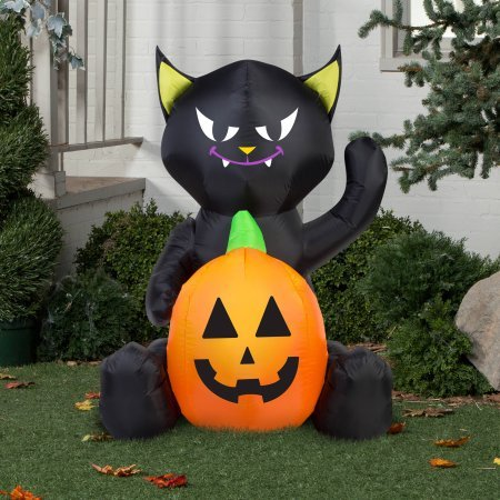 [Gemmy Airblown Inflatable 4' X 3' Cat Pumpkin Duo Halloween Decoration] (Poseidon Greek God Costume)