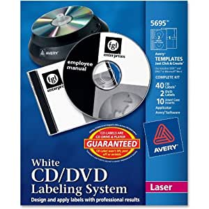 Avery CD/DVD Labeling System for Laser Printers, White (5695)