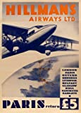 Vintage Aviation & Travel BRITISH Hillman Airways Ltd PARIS RETURN Margate HULL Manchester LIVERPOOL Belfast GLASGOW c1935 Reproduction Aviation Poster on 200gsm A3 Satin (Low Gloss) Art Card