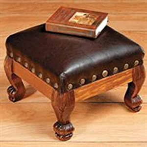 Brown faux leather wood footstool foot stool for Small storage hassocks
