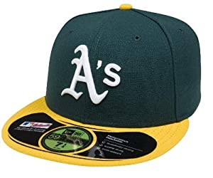 MLB Oakland Athletics Authentic On Field Game 59FIFTY Cap, 6 3/4, Green/Yellow