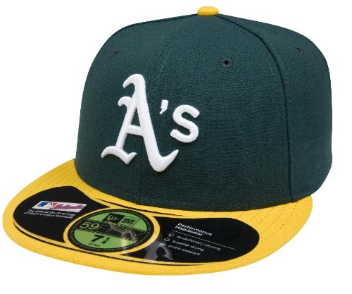 MLB Oakland Athletics Authentic On Field Game 59FIFTY Cap (7 5/8, Green/Yellow)