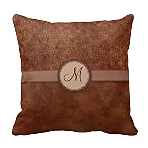 Amazon.com - Decors Rust Red Coin Pattern With Monogram Throw Pillow Case Cushion Cover Home ...