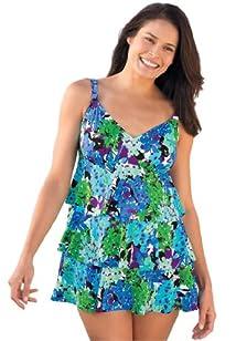 Penbrooke Women's Plus Size Swimsuit with ruffled tiers sweetheart neck