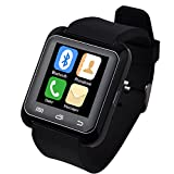 5ive® U80 Bluetooth 4.0 Smart Wrist Wrap Watch Phone for Smartphone Android Samsung S2/S3/S4/S5/S6Note 2/Note 3/Note 4/HTC Part Function for iPhone (Black)