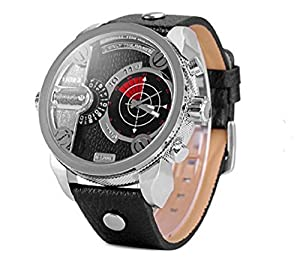 Casual Men Quartz Watch with Big Round Dial and Multi Time Zones