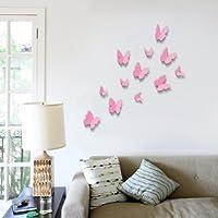 Walplus 12-Piece 3D Butterfly Wall Stickers, Pink by Walplus