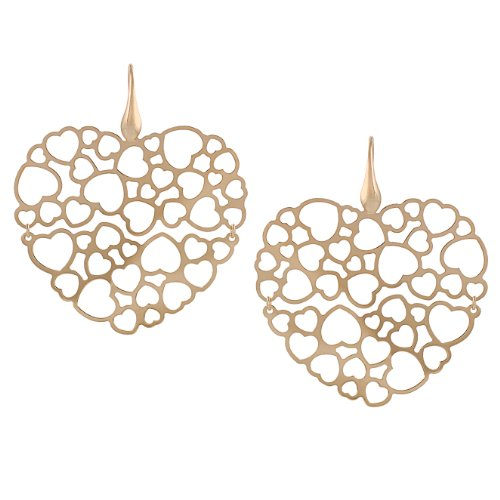 Rose Gold-plated Sterling Silver Large Heart Earrings